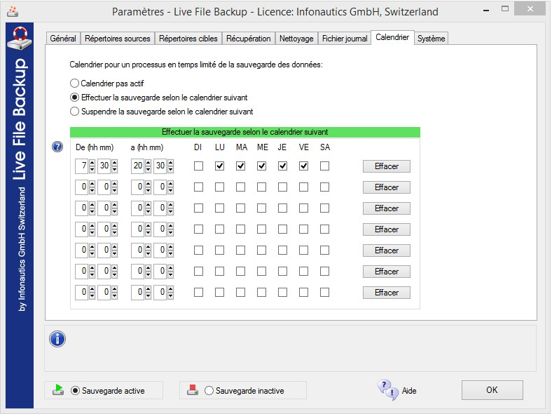 Calendrier pour une sauvegarde automatique qu'à certains horaires précis.